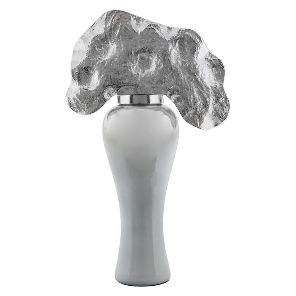 Vitale Rani Gümüş Metal Yapraklı Vazo Büyük Boy AK.HB0018
