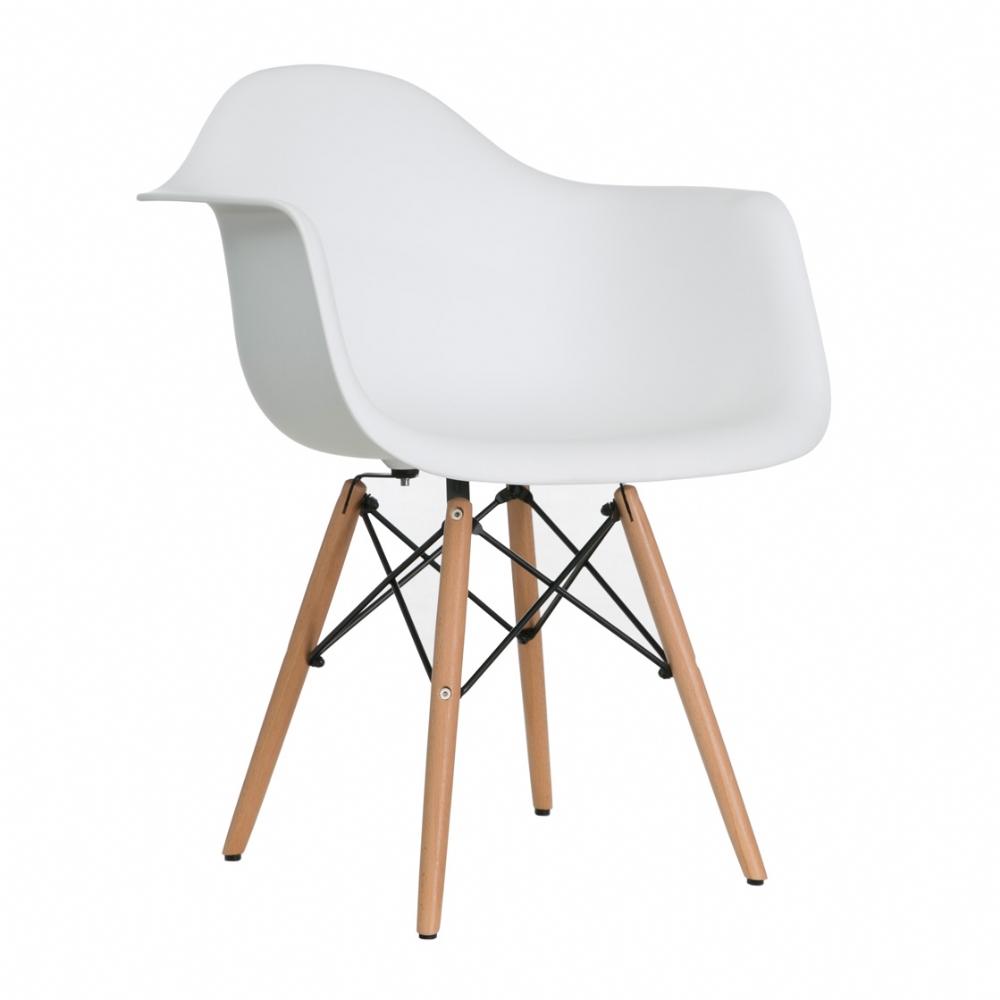 Vitale Aqua Kollu Beyaz Ahşap Ayaklı Sandalye MS.OW-111A-WHT