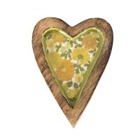 Vitale Şiva Çiçek Desenli Yeşil Dekoratif Kalp Küçük Boy AK.FQ0014-Y