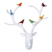 Vitale Lima Renkli Kuşlu Beyaz Geyik Başı AK.GW0016