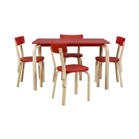 Vitale Tobi Kırmızı Masa Sandalye Seti MS.MA032-SET-KRM